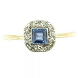 Sapphire and Diamond ring circa 1930`s