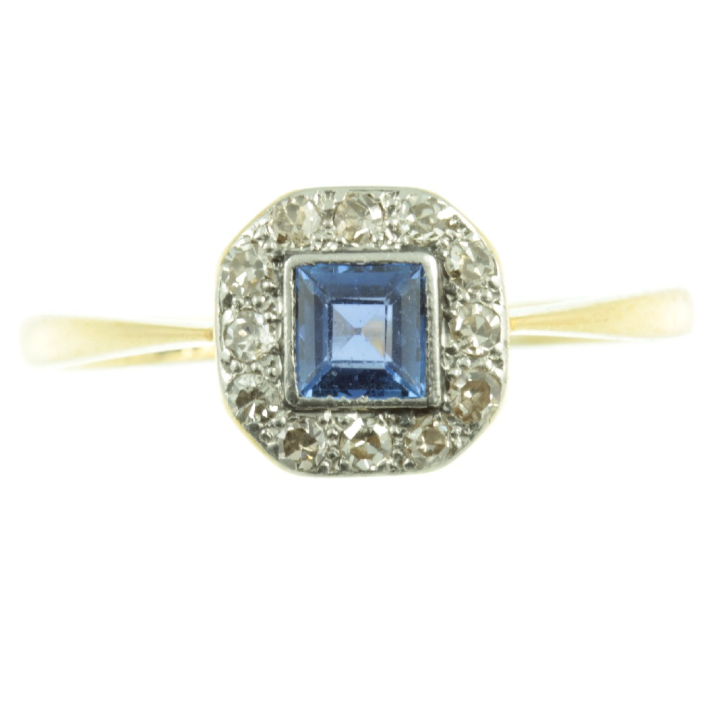 Sapphire and Diamond ring circa 1930`s
