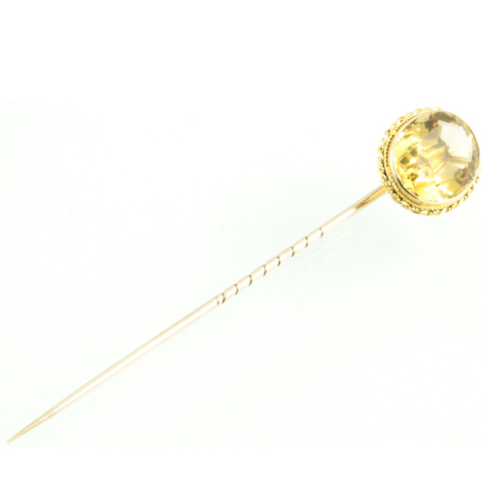 Victorian 15ct Gold Citrine Stickpin