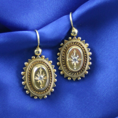Victorian 15ct gold Rose cut diamond earrings
