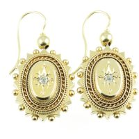 Victorian 15ct gold and diamond earrings