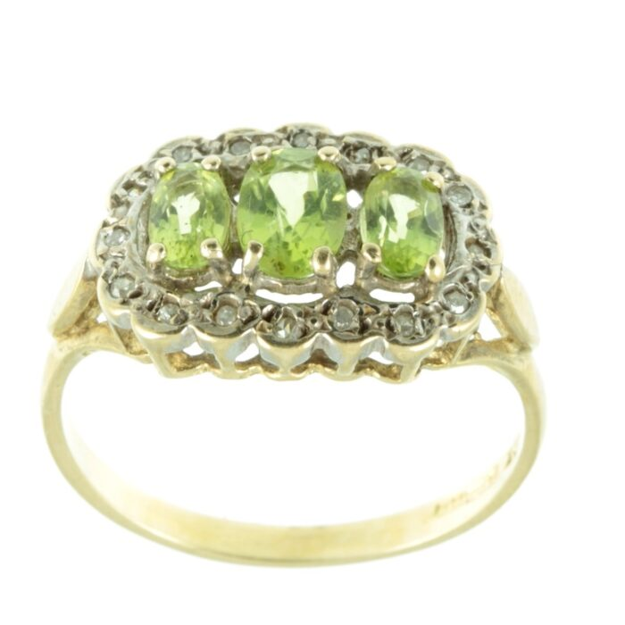 front view of victorian peridot ring