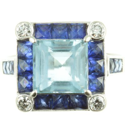 Aquamarine & Sapphire Ring