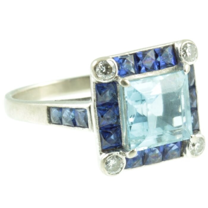 aquamarine and sapphire ring