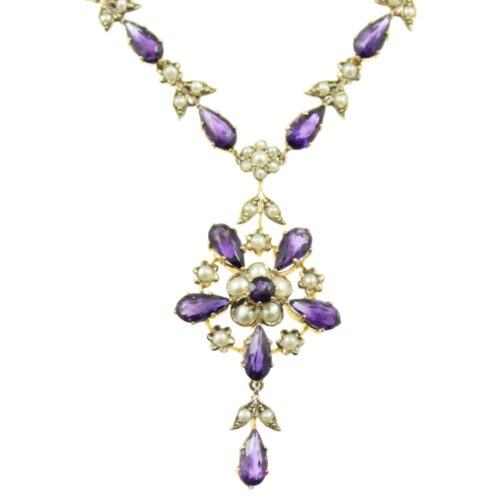 Edwardian Amethyst and split pearl necklace