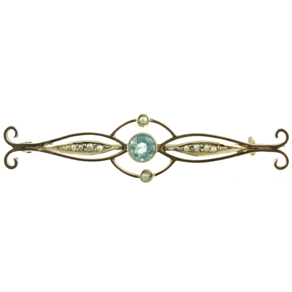 Edwardian 9ct gold topaz brooch