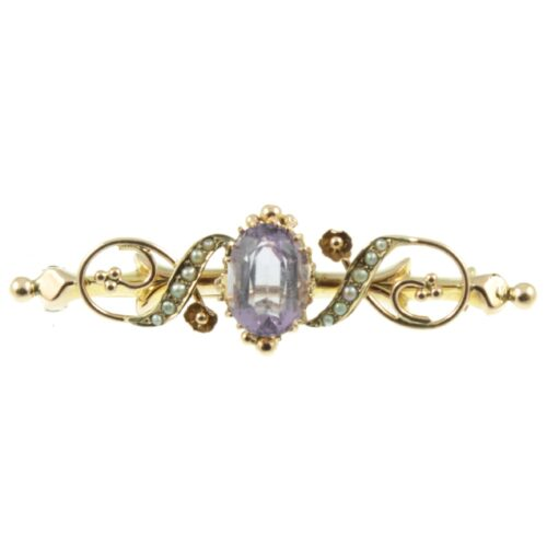Edwardian Amethyst and Seed Pearl Brooch