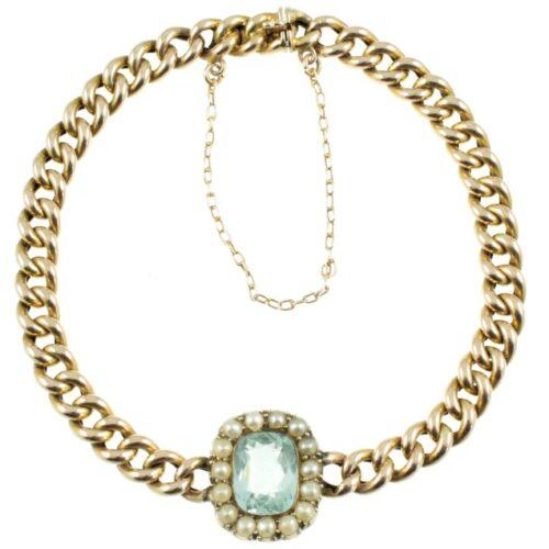 Edwardian Aquamarine Curb Bracelet