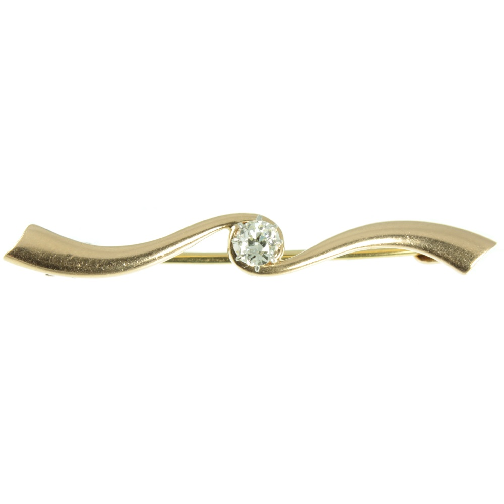 Edwardian Diamond Bar Brooch