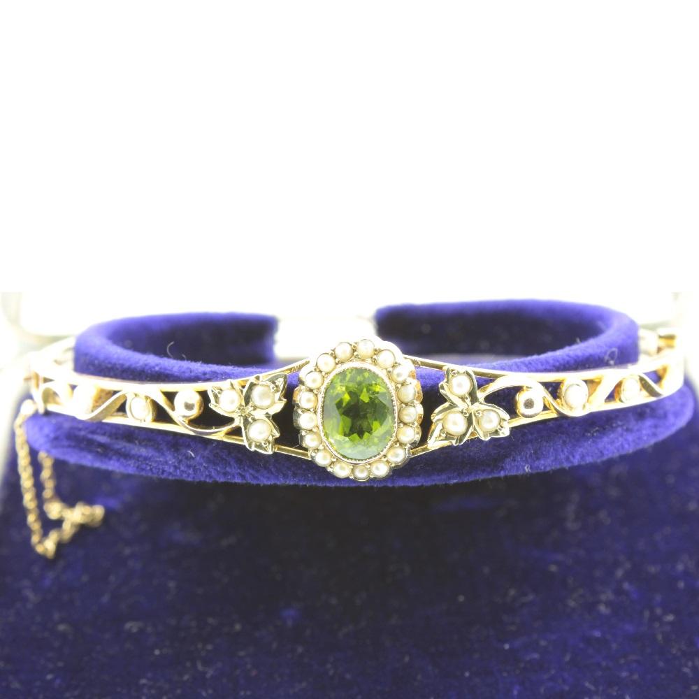 Edwardian Peridot and split pearl bangle