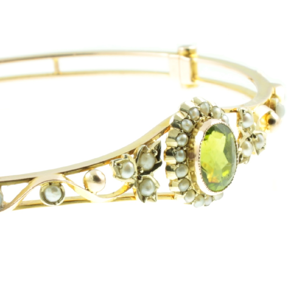 Edwardian Peridot and split pearl bangle