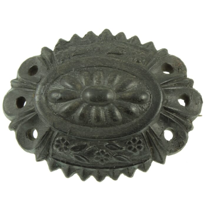 Victorian Bog Oak Mourning Brooch
