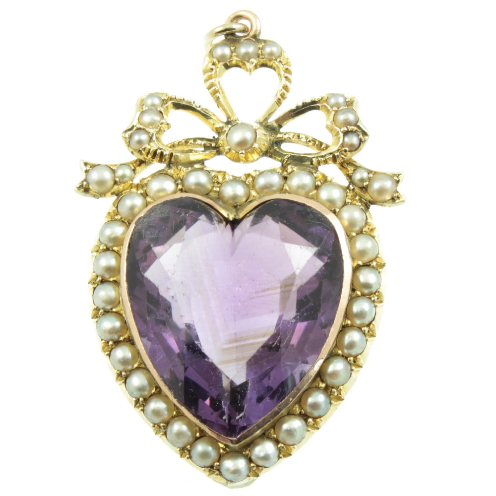 Edwardian amethyst and split pearl pendant