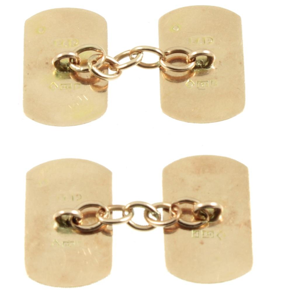 9ct gold and enamel Art Deco cuffflinks