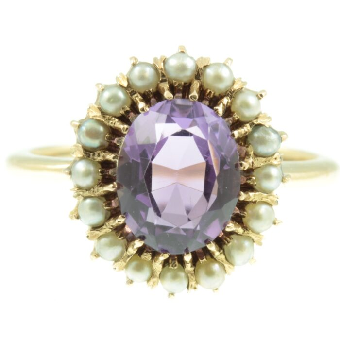 Amethyst and seed pearl cluster ring
