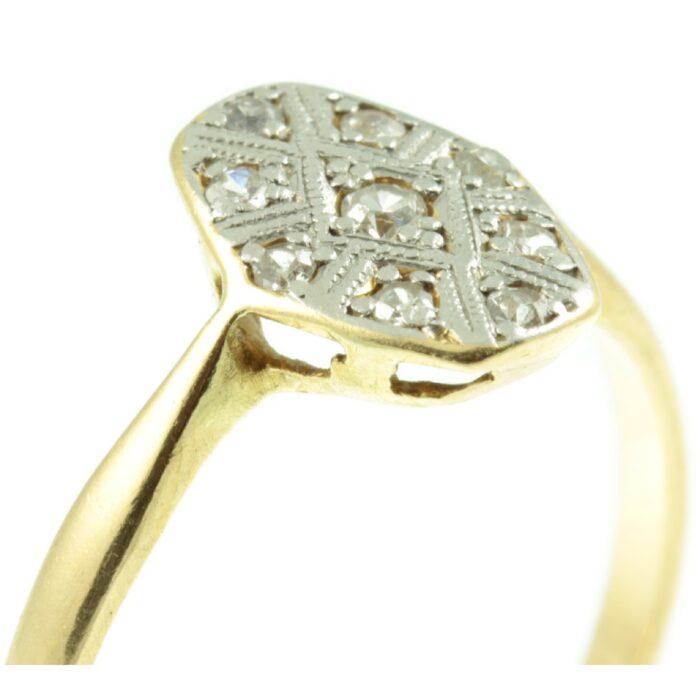 Art Deco Diamond Hexagon Ring