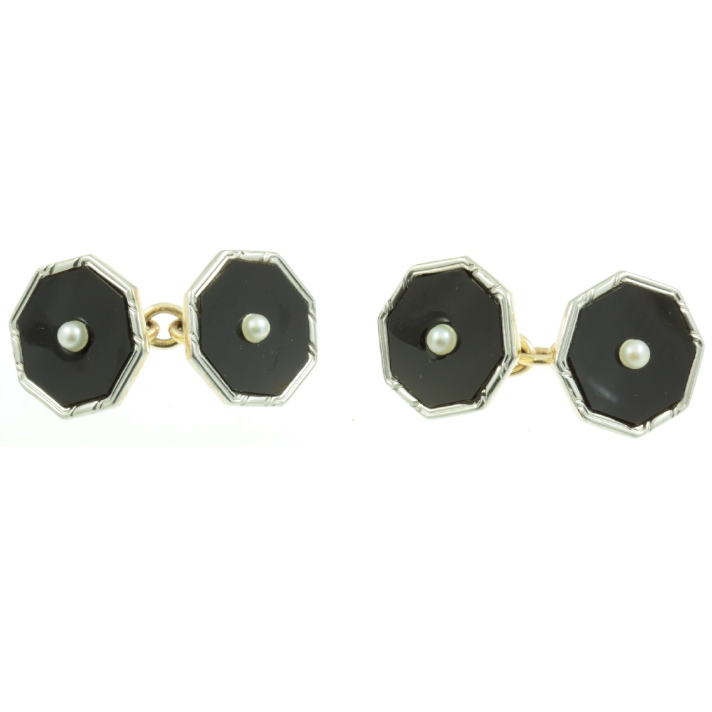 Art Deco Onyx and pearl cufflinks