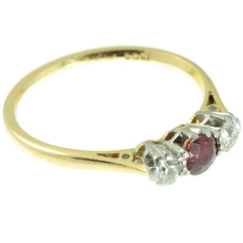Art Deco Ruby and Diamond three stone ring