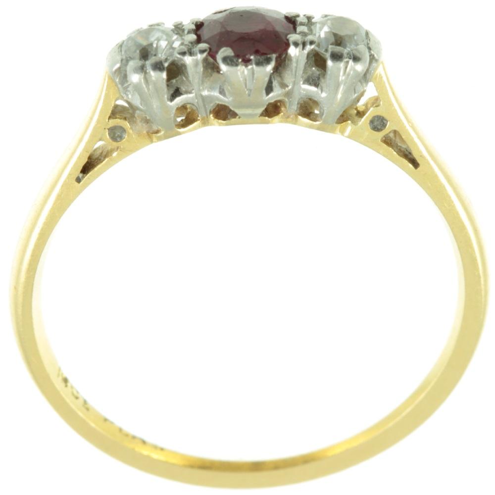 Art Deco Ruby and Diamond three stone ring