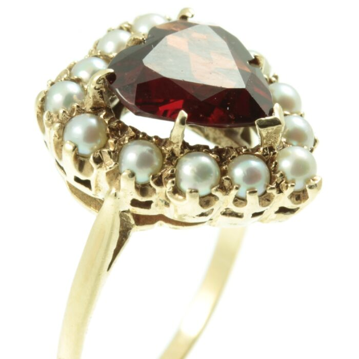 Edwardian Garnet and Pearl Ring