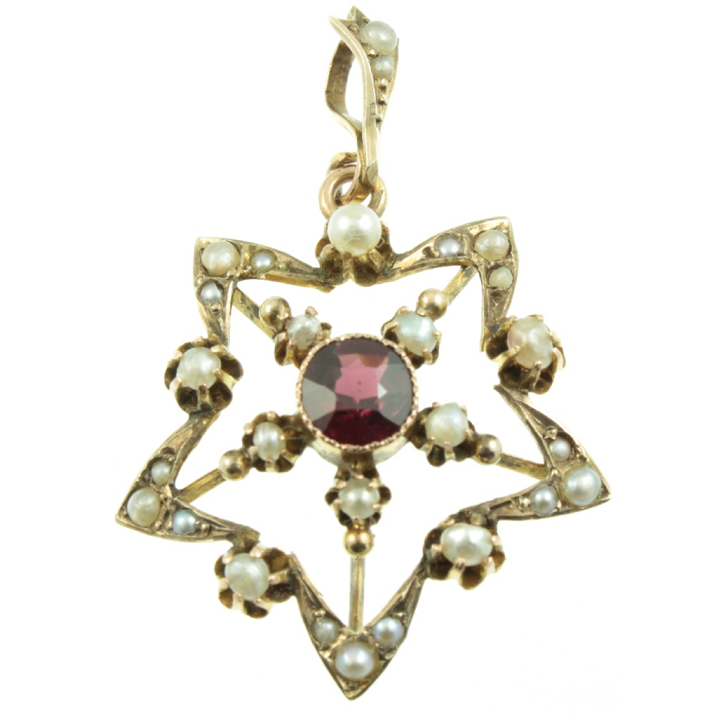 Edwardian Garnet and pearl star pendant