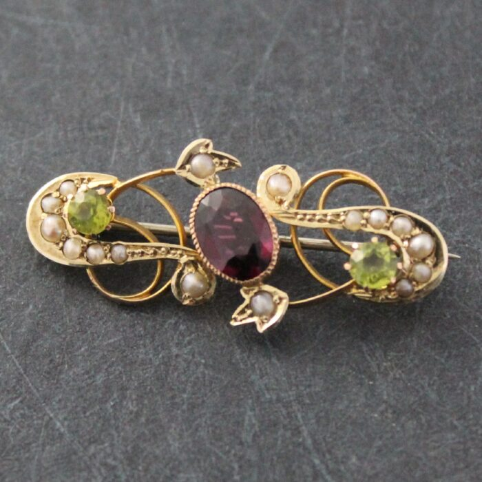 Garnet and peridot Art Nouveau Brooch