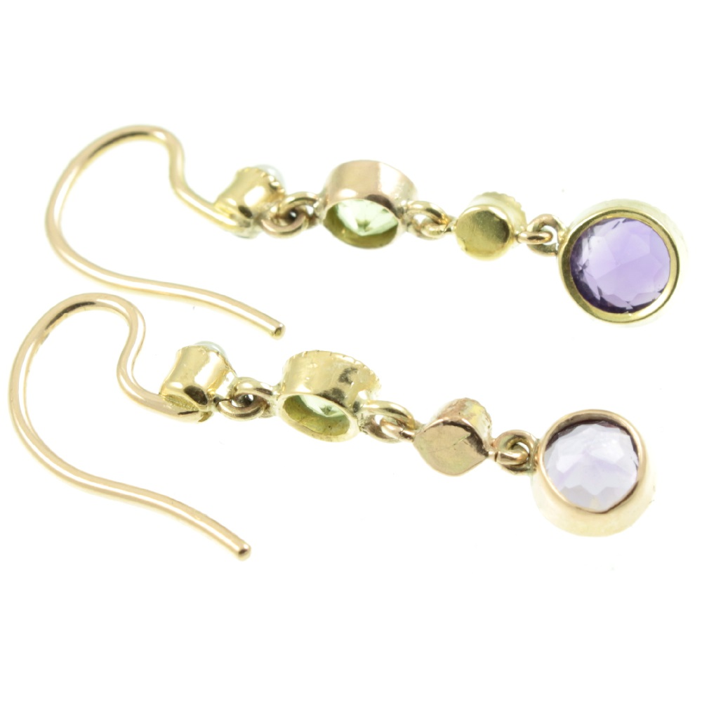 Peridot Amethyst and split pearl drop earrings