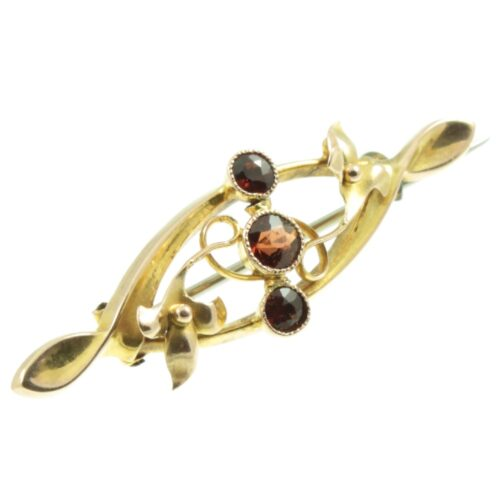 Victorian Garnet Scroll Brooch