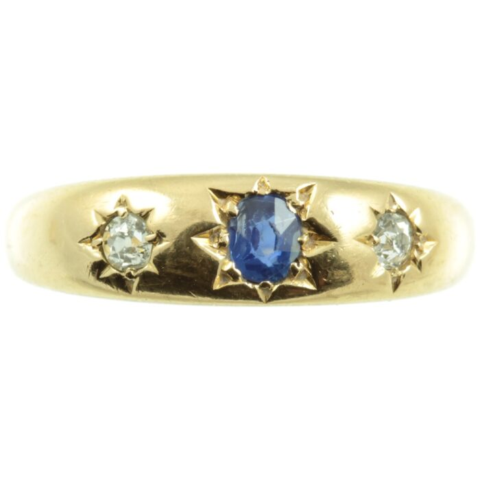 Victorian Sapphire and Diamond Gypsy ring