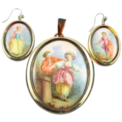 Victorian Tortoise shell cameo earrings and pendant