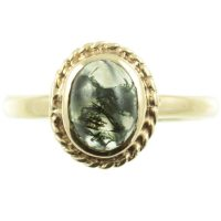 Art Deco 9ct gold moss agate ring
