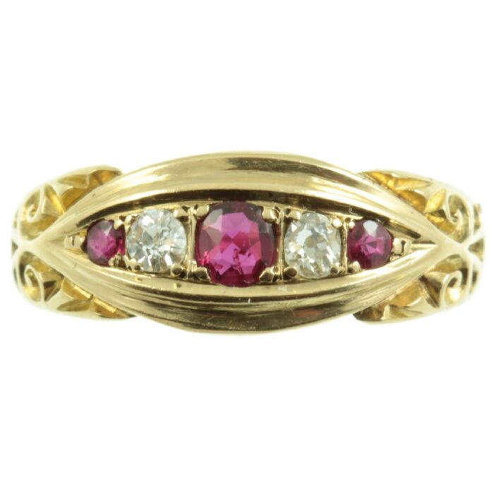 Edwardian 18ct gold ruby and diamond ring