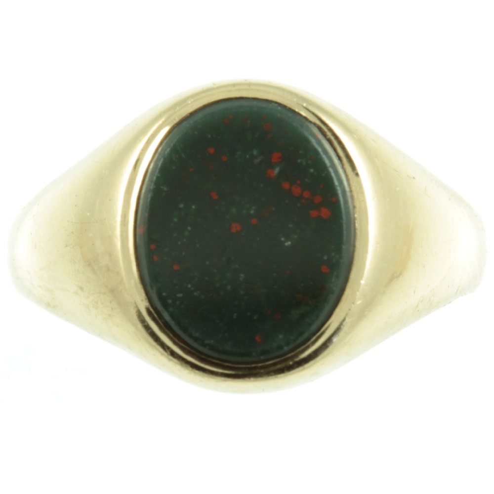 Edwardian 9ct gold bloodstone signet ring