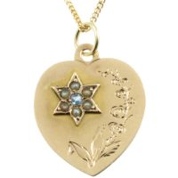 Edwardian 9ct gold heart pendant