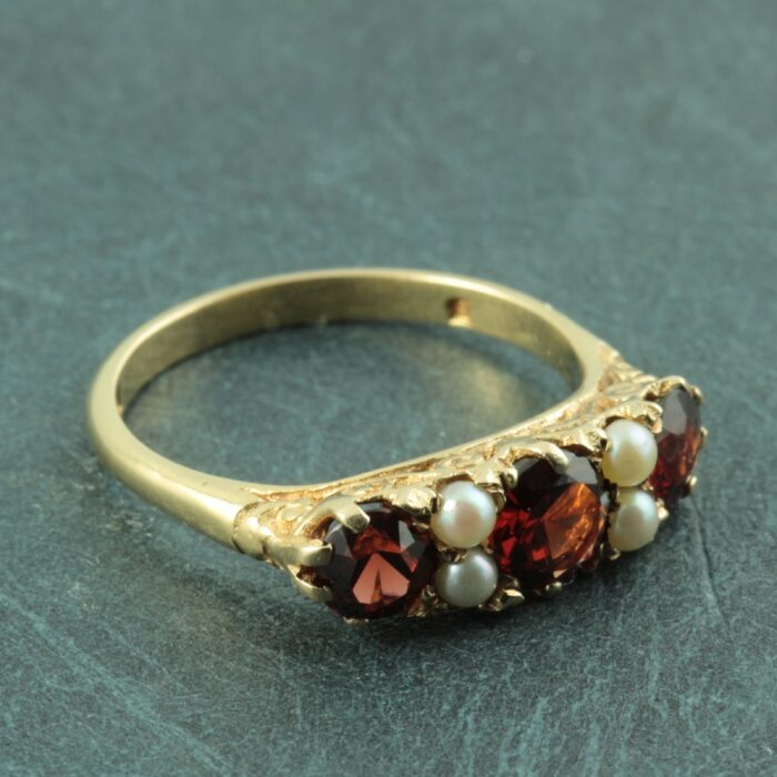 Victorian 9ct gold garnet and pearl ring