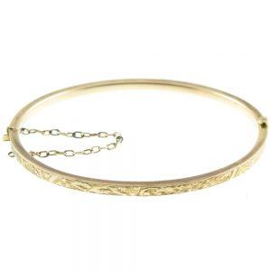 Victorian 9ct gold hinged bangle