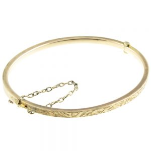 Victorian 9ct gold hinged bangle