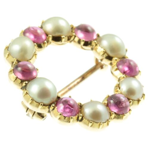 Victorian 9ct gold ruby and pearl brooch