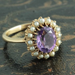 Edwardian 15ct gold Amethyst Ring