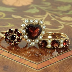 Garnet and seed pearl rings