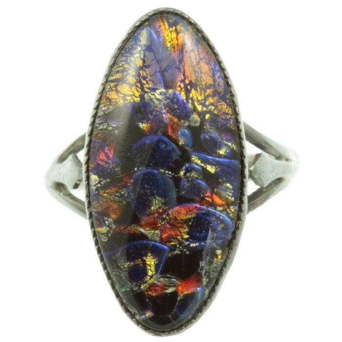1920s Harlequin Glass Ring