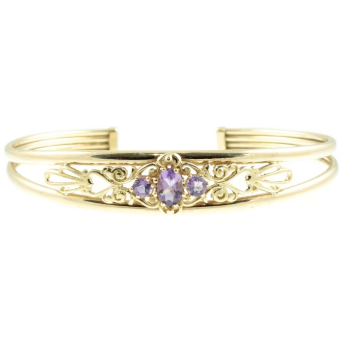 9ct Gold Amethyst Torque Bangle