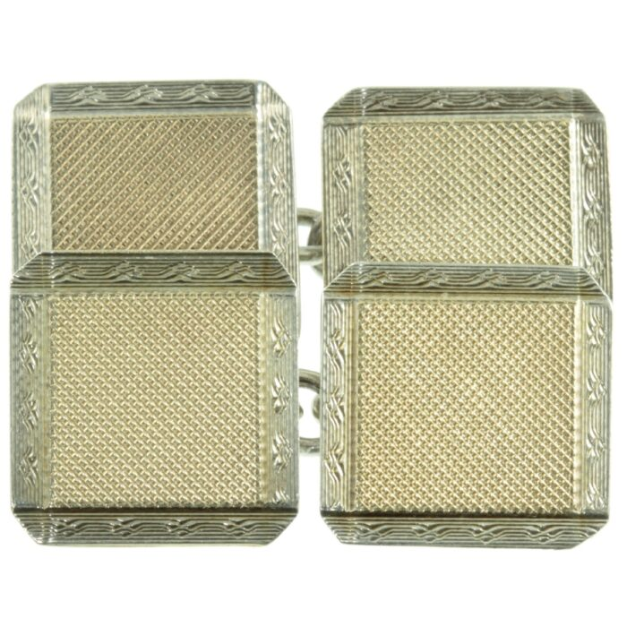 Art Deco 9ct gold and silver Cufflinks