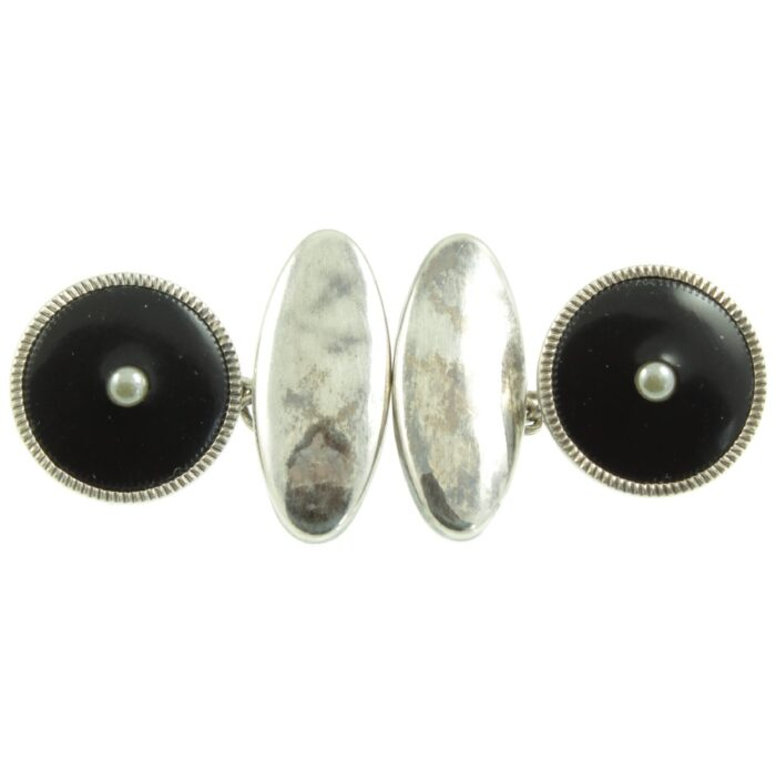 Art Deco Seed Pearl and Onyx Silver Cufflinks
