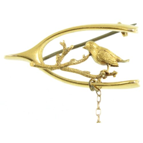 Art Nouveau 15ct Gold Bird Brooch