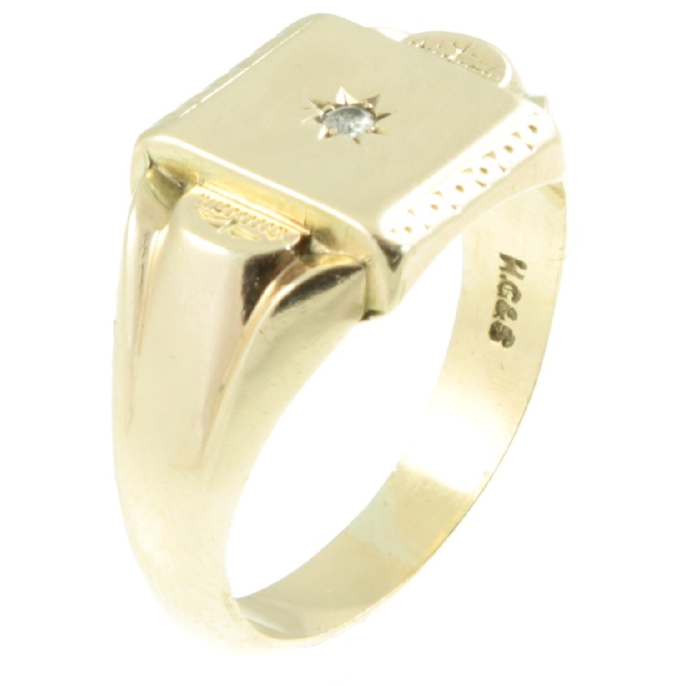 Edwardian 9ct Gold Diamond Signet Ring