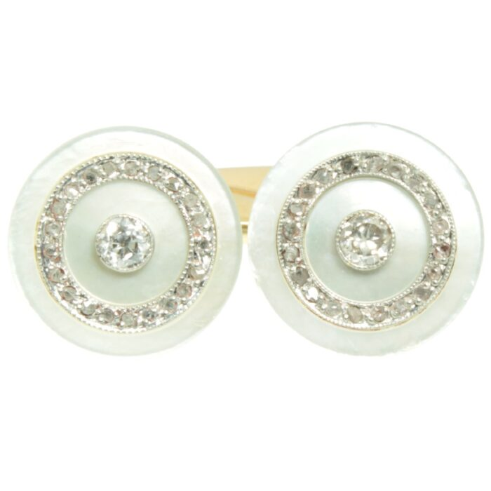 Edwardian Mother of Pearl and Diamond Cufflinks