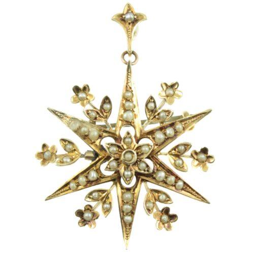 Edwardian Split Pearl Star Pendant