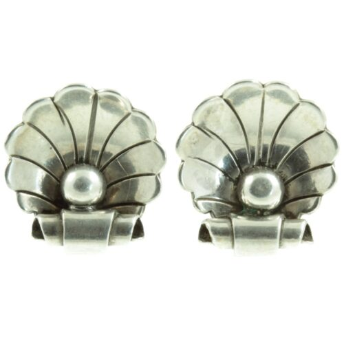 Georg Jensen Silver Clam Earrings