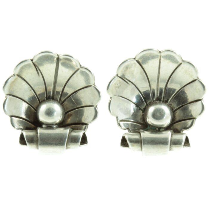 Georg Jensen Silver Clam Earrings